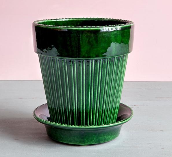 Fersk Simona blomsterpotte m/fat 18 cm green emerald XO-99