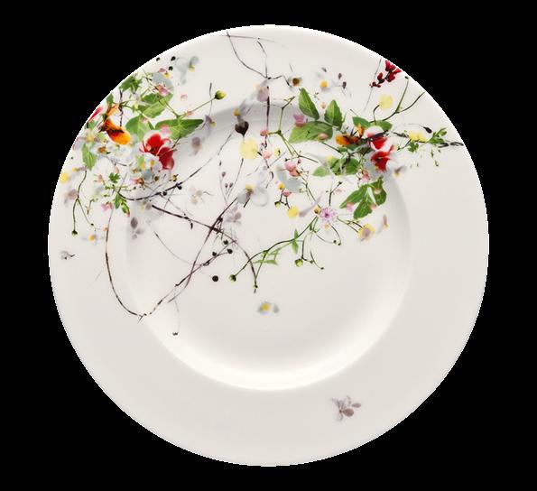 Brillance Fleurs Sauvages asjett 19 cm - vakre villblomster på hvitt porselen