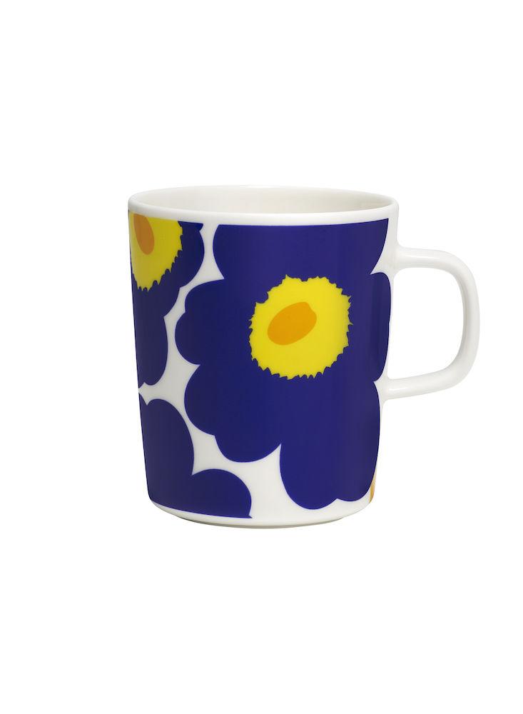 Unikko krus 2,5 dl hvit/blå/gul Marimekko