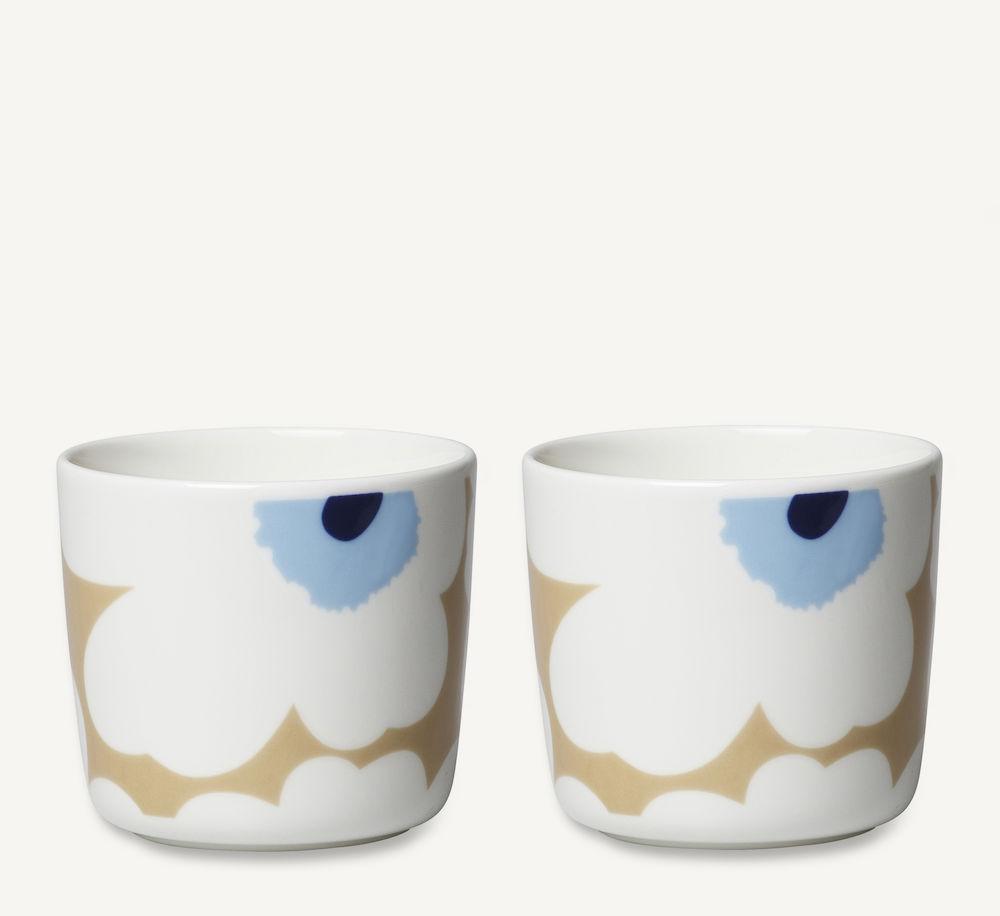 Unikko kaffekopp 2 dl 2pk beige/krem/blå Marimekko