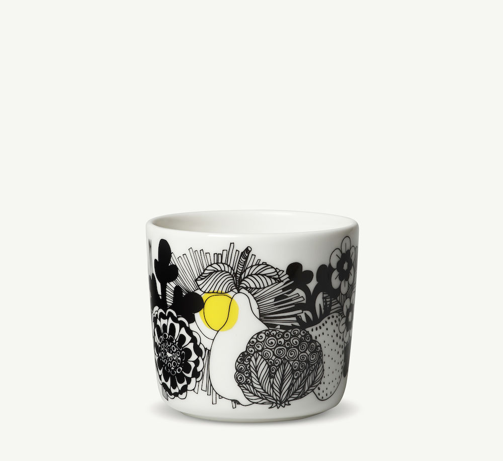 Siirtolapuutarha kaffekopp u/hank 2 dl hvit/sort/gul Marimekko